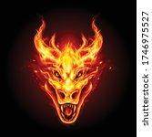 legendary fire dragon head on... | Shutterstock .eps vector #1746975527