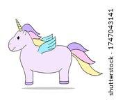 cute fat unicorn with golden... | Shutterstock .eps vector #1747043141