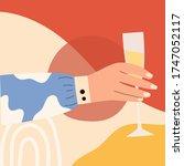 female hand holding glass of... | Shutterstock .eps vector #1747052117