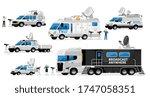 broadcast vans. broadcasting... | Shutterstock .eps vector #1747058351