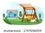 garden swing. empty wooden... | Shutterstock .eps vector #1747058354