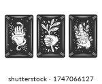 three black tarot cards. magic...   Shutterstock .eps vector #1747066127