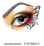 eye make up with butterfly | Shutterstock .eps vector #174708371