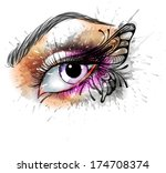 eye make up with butterfly | Shutterstock .eps vector #174708374
