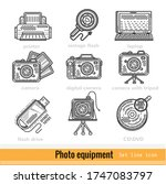 set of photo equipment outline ...