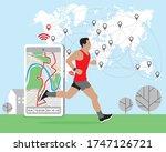 running man using online... | Shutterstock .eps vector #1747126721