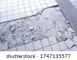 Clean White Broken Tile Wall...