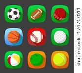 flat sport icons | Shutterstock .eps vector #174717011
