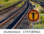 Curved Railway Track With...
