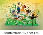 brazil carnival  brasil... | Shutterstock .eps vector #174725171