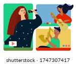 musical band making online... | Shutterstock .eps vector #1747307417