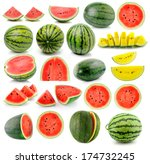 Water Melon Isolated On White...