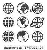 earth vector icon set. globe ... | Shutterstock .eps vector #1747333424