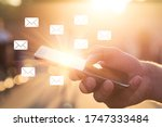 man uses his mobile phone... | Shutterstock . vector #1747333484