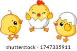 Set Of Yellow Chickens On A...
