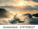 Big Wave Hit The Rock At Beach  ...