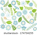 flowers and foliage   blue | Shutterstock .eps vector #174734255