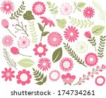 flowers and foliage   pink | Shutterstock .eps vector #174734261
