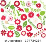 flowers and foliage   red | Shutterstock .eps vector #174734294