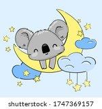 Cute Koala Sleeps On The Moon....