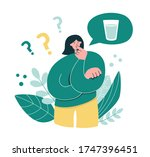 woman thinks how much water she ...   Shutterstock .eps vector #1747396451