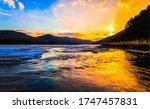 Sunset Sea Bay Rock Landscape