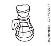 coffee in teapot drink line... | Shutterstock .eps vector #1747473347