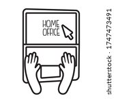 laptop online with home office... | Shutterstock .eps vector #1747473491
