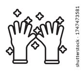rubber gloves line style icon... | Shutterstock .eps vector #1747473581