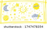 Doodle Sun And Clouds  Moon An...