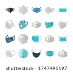 set of icons of medical mask on ... | Shutterstock .eps vector #1747491197