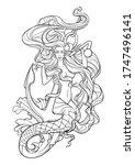 beautiful mermaid with long...   Shutterstock .eps vector #1747496141