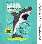 great white shark tee design.... | Shutterstock .eps vector #1747519934