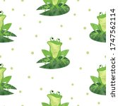 Cute Watercolor Frog Pattern....