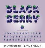blackberry summer font. cartoon ... | Shutterstock .eps vector #1747578374
