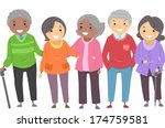 Illustration of a Group of Senior Citizens Huddled Together