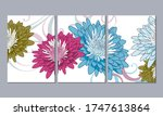 set of 3 canvases for wall... | Shutterstock .eps vector #1747613864