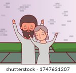 couple of woman and man in...   Shutterstock .eps vector #1747631207