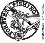 Human Skeleton Holding Fishing...