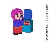 Muslim Woman Drinking A Glass...