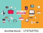 computer work and vacation... | Shutterstock .eps vector #174765701