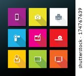 flat media icon set   vector...