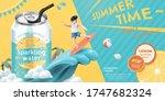 ad template of lemon sparkling... | Shutterstock .eps vector #1747682324