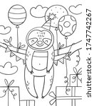 coloring page with cute... | Shutterstock .eps vector #1747742267