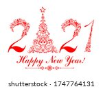2021. happy new year. vintage... | Shutterstock . vector #1747764131