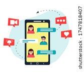 message. screen smartphone.... | Shutterstock .eps vector #1747818407