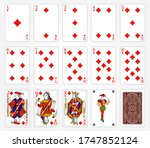 playing cards of diamonds suit...   Shutterstock .eps vector #1747852124