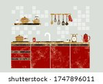 cute system kitchen drawn in... | Shutterstock .eps vector #1747896011