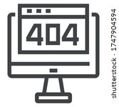 404 error black line icons on... | Shutterstock .eps vector #1747904594