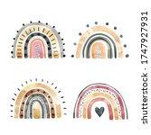 set of watercolor stylish... | Shutterstock . vector #1747927931